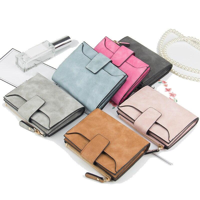 Кожаный кошелек для женщин, маленький узкий бумажник на застежке с кармашком для мелочи, роскошные дизайнерские кредитницы