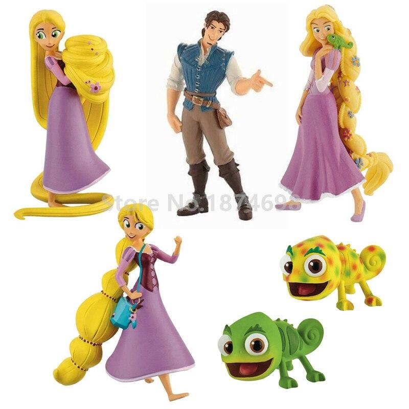 New Tangled Adventure Rapunzel Princess Pascal Prince Flynn Rider Figure Doll 6PCS Set Kids Dolls Toys Girls Gifts