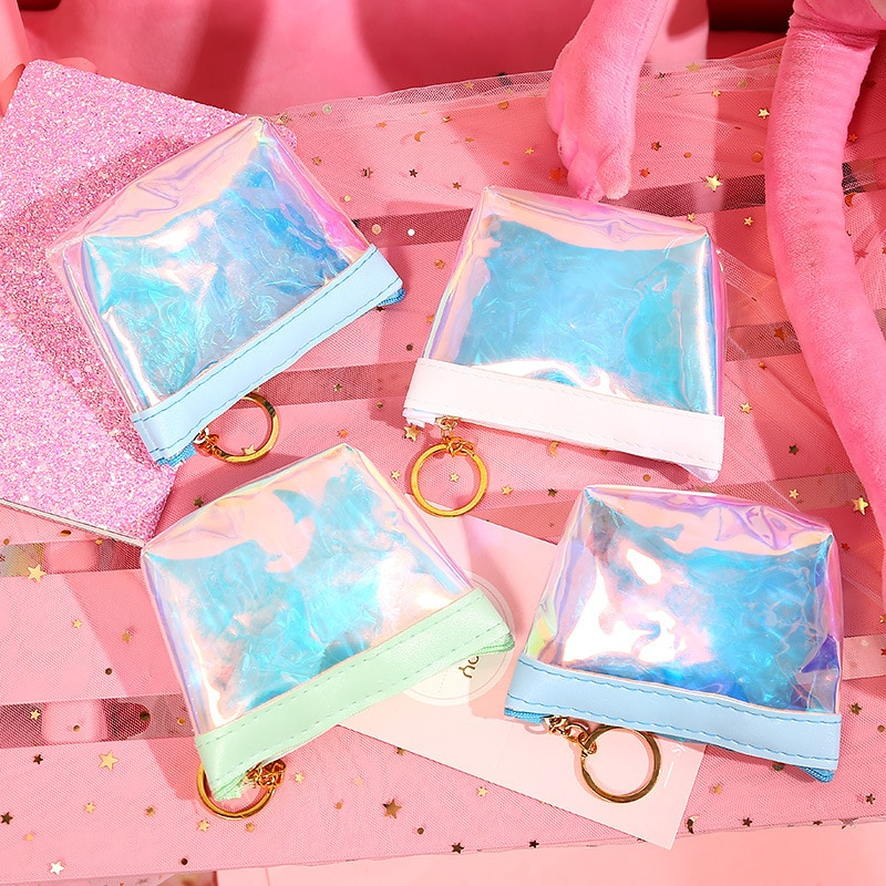 Pink Girl Coin Purse Transparent Laser Storage Bag Ladies Compact Portable Cute Wallet Data Cable Ea