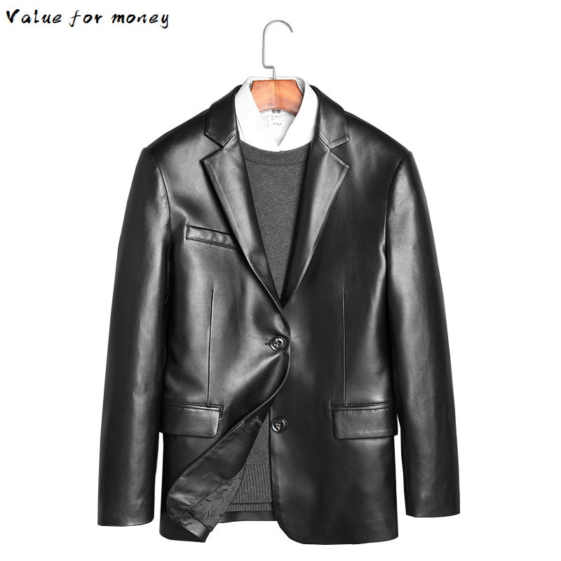 Leather Mens Jacket Real Sheepskin Coat Blazer Genuine Leather Jackets for Men 2020 Chaqueta Cuero Hombre 71H936 KJ2447