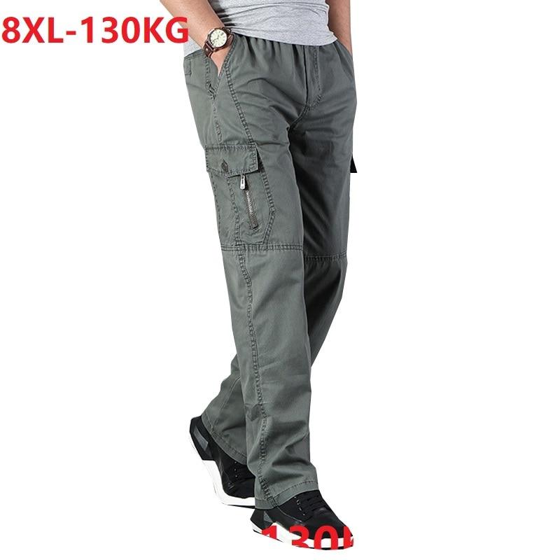 Men cargo pants pocket zipper out door big size pants simple 6XL 7XL 8XL army green pants autumn Straight trousers loose gray 48