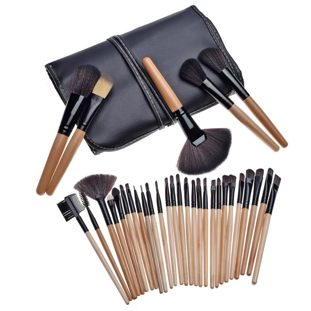 Professional 32pcs Pink Makeup Brush Set Multi-function Eye Lip Concelar Cosmetic Tools Facial Make up Brush Kit with Pu Bag