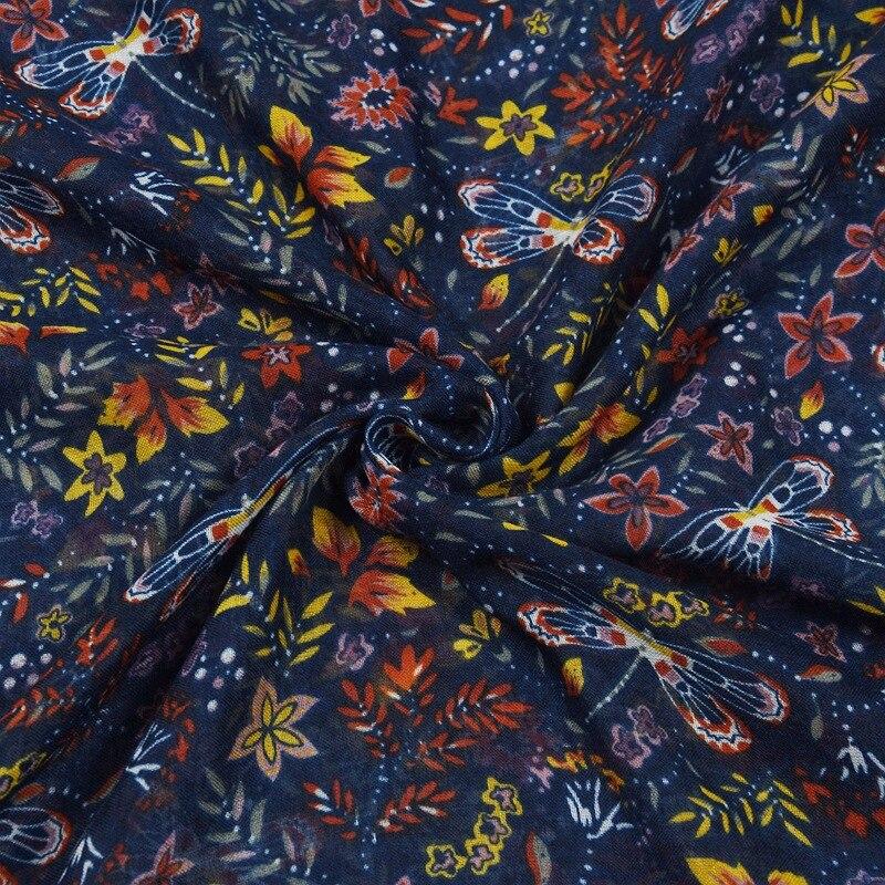 2021 Fashion Women Dragonfly  Print Tassel Scarf Shawls Long Soft Beach Flower Scarves Hijab Wrap