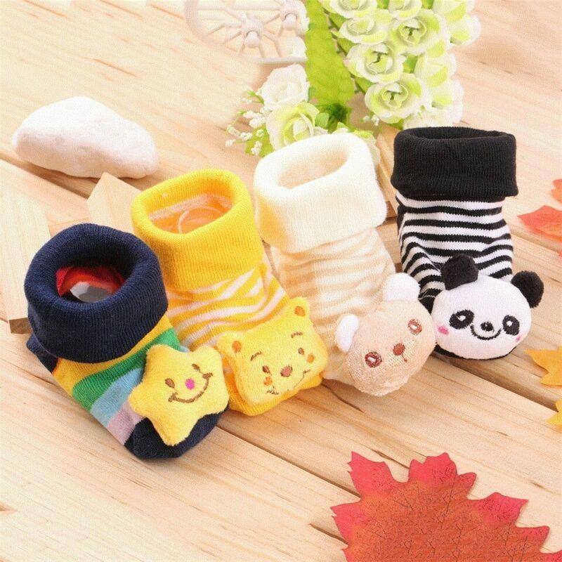 Новые Нескользящие теплые тапочки для маленьких мальчиков и девочек, хлопковые носки-тапочки для кроватки, милые носки с объемными рисунка...