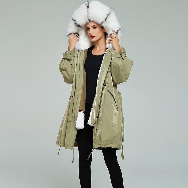 Parka vrai manteau femme naturel lapin Liner longs manteaux 2020 hiver veste femmes renard fourrure col chaud Parkas mon