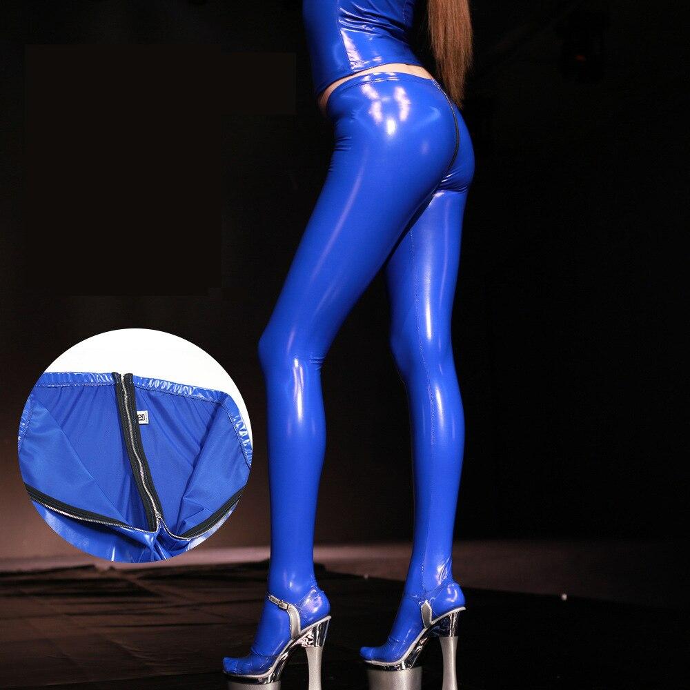 3XL Plus Größe Wetlook Sexy Zipper Gabelung Ouvert Öffnen Hintern PVC Hosen Punk Wet Look Push-Up-Leggings PVC Shiny strumpfhosen Clubwear