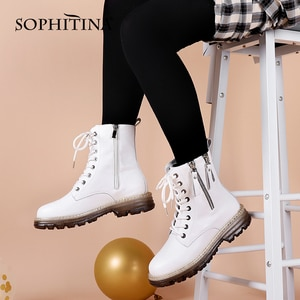 SOPHITINA Fashion Ankle Boots Women Casual Zipper Round Toe Flat With Lace-Up Non-slip Motorcycle Boots Classic Women Shoes WZ01