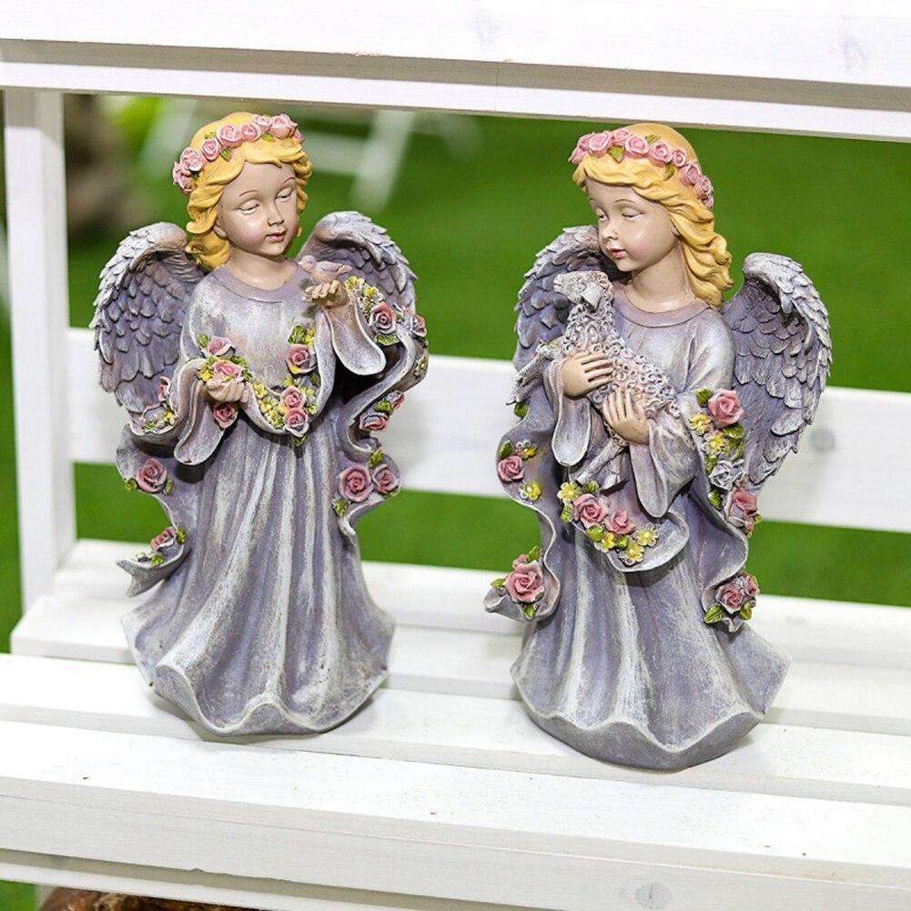 تمثال من الراتنج لفتاة الملاك الصغيرة المنحوتة بالمناظر الطبيعية في حديقة الملاك تماثيل مكتب المنزل بلكونة زينة هدية للأصدقاء