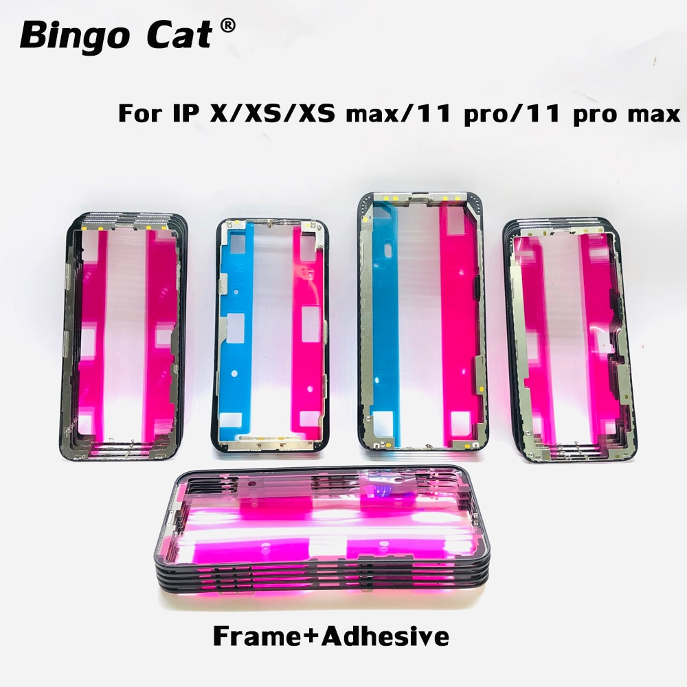 10 pçs moldura de qualidade original wtih cola adesivo para iphone x xs max 11 pro max médio moldura substituição lcd vidro reapir