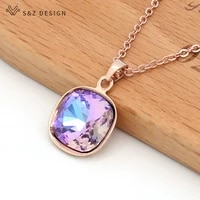 sz design fashion trendy luxury square crystal pendant necklace 585 rose gold white gold for women wedding party jewelry gift