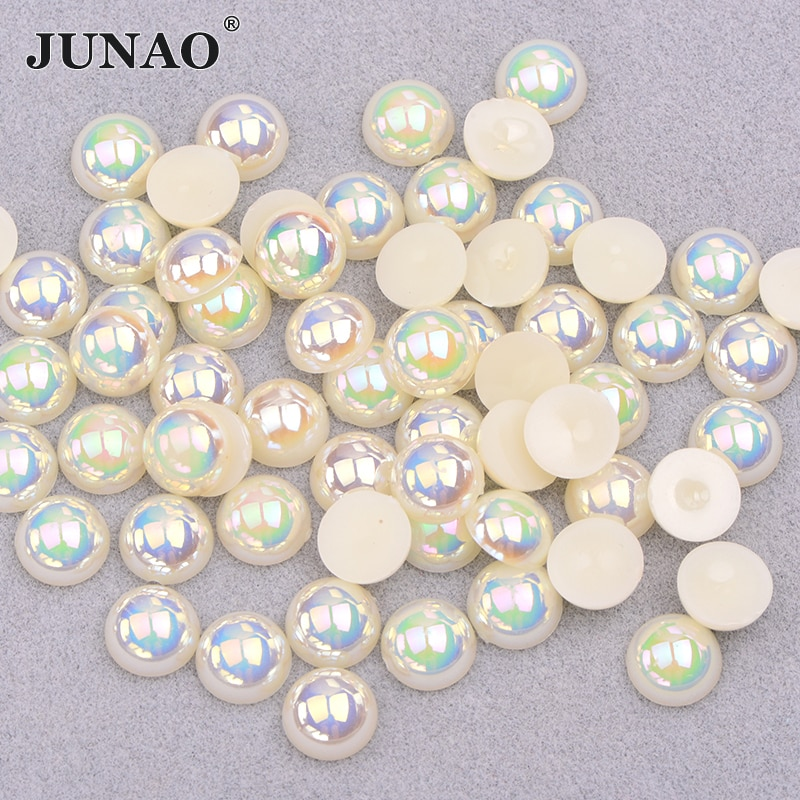 JUNAO 4 6 8 10 12 мм белые жемчужные бусины AB полукруглые жемчужные стразы с аппликацией с плоской задней поверхностью, Кристальные наклейки, сделай сам, скрапбук, стразы