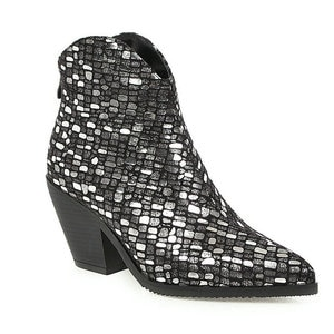 2019 New Sequined Ankle Boots For Women Wedges High Heel Female Boots Autumn Winter Pointed Toe Zipper Western Boots Ladies Shoe