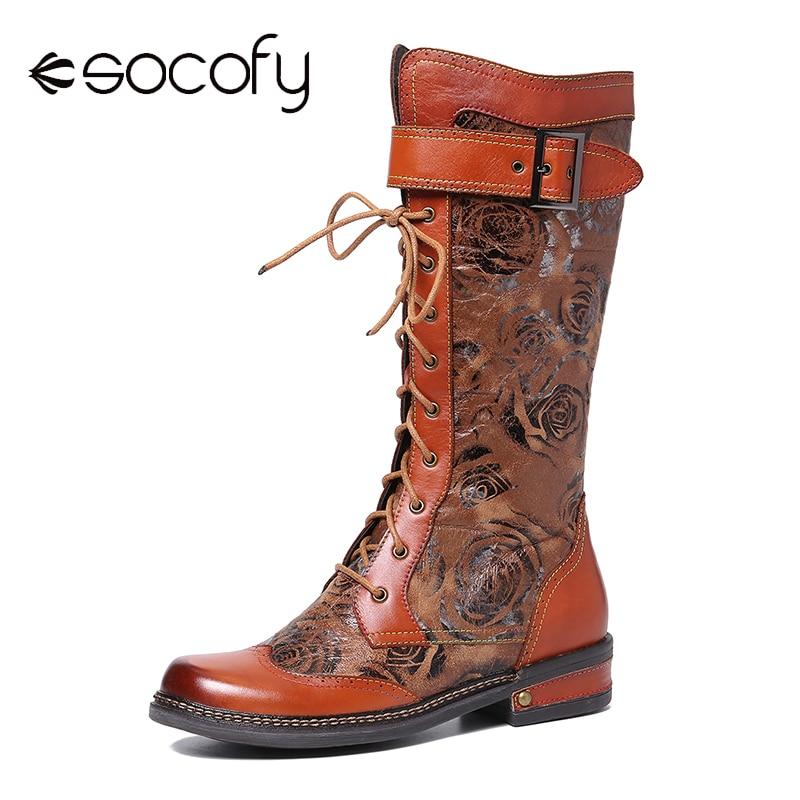 SOCOFY تنقش نمط الوردي جلد طبيعي الربط مشبك معدني منتصف العجل أحذية أنيقة أحذية النساء أحذية بوتاس موهير