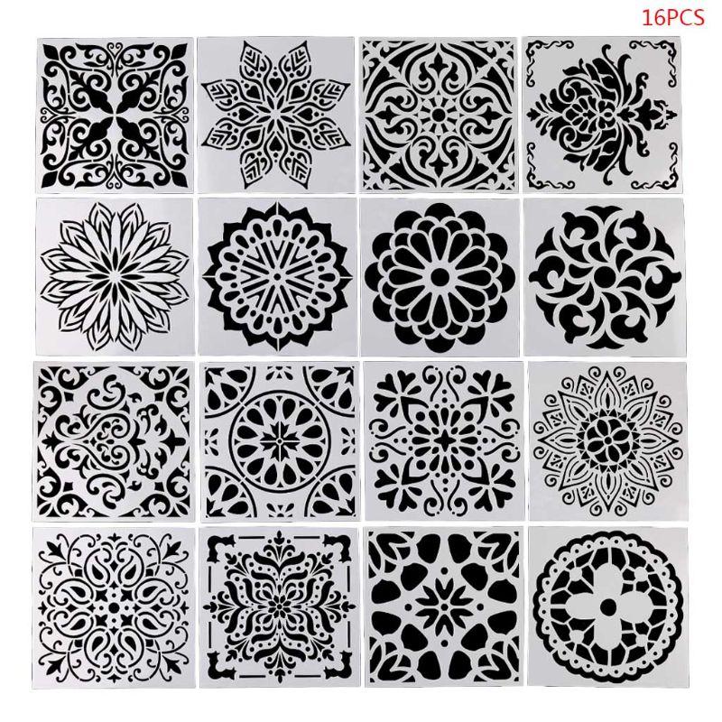 16pcs/set Mandala Drawing Template Ruler Stencil Painting Board DIY Album Decor School Supplies  C26