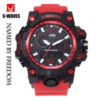 Sport Dual Display Watch Men SWAVES Big Brand Military Waterproof Clock Men's Wrist Watches Quartz Red Plastic LCD Reloj Hombre