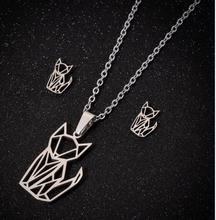 Hfarich Collares De Moda 2019 mignon acier couleur Origami assis chien chat renard pendentif colliers pour femmes enfants cadeau danniversaire