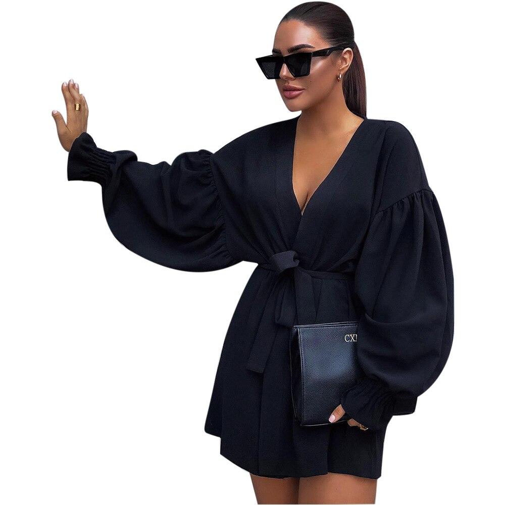 Puff manga vestido v pescoço mini bodycon festa de manga longa preto vestido feminino senhoras 2019 sexy curto flapper vestido sukienki damskie