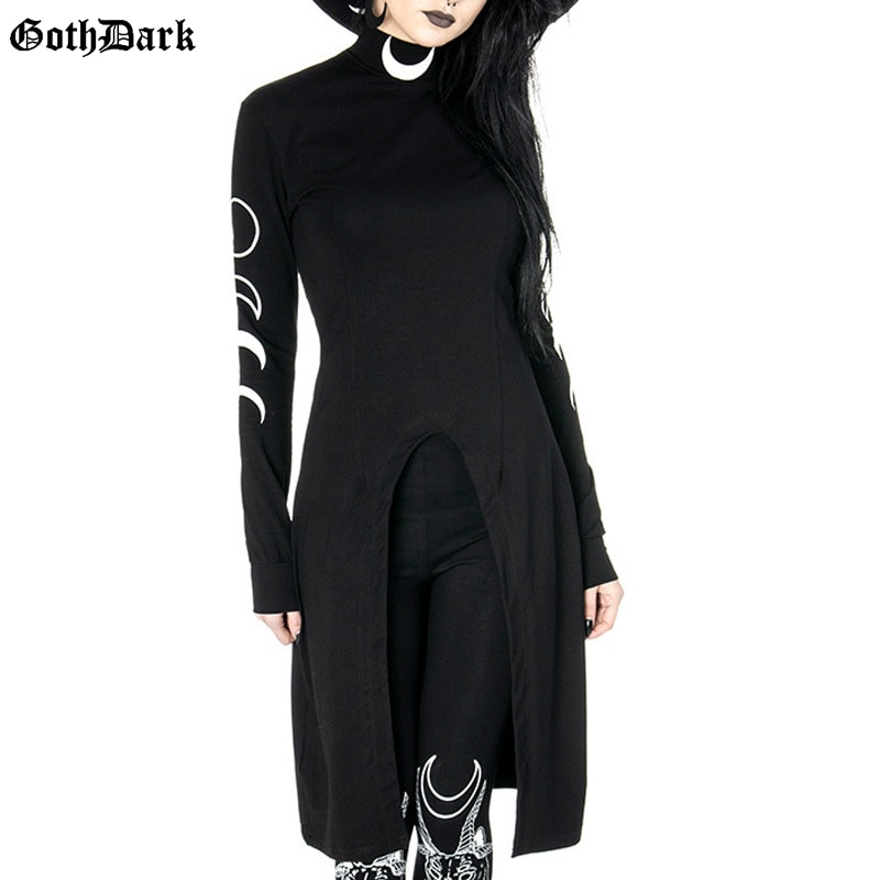Goth Dark estampado de Luna vestidos Grunge cuello de tortuga manga larga Mini vestido de moda de diseño inferior Split Darkness Streetwear vestido 2020