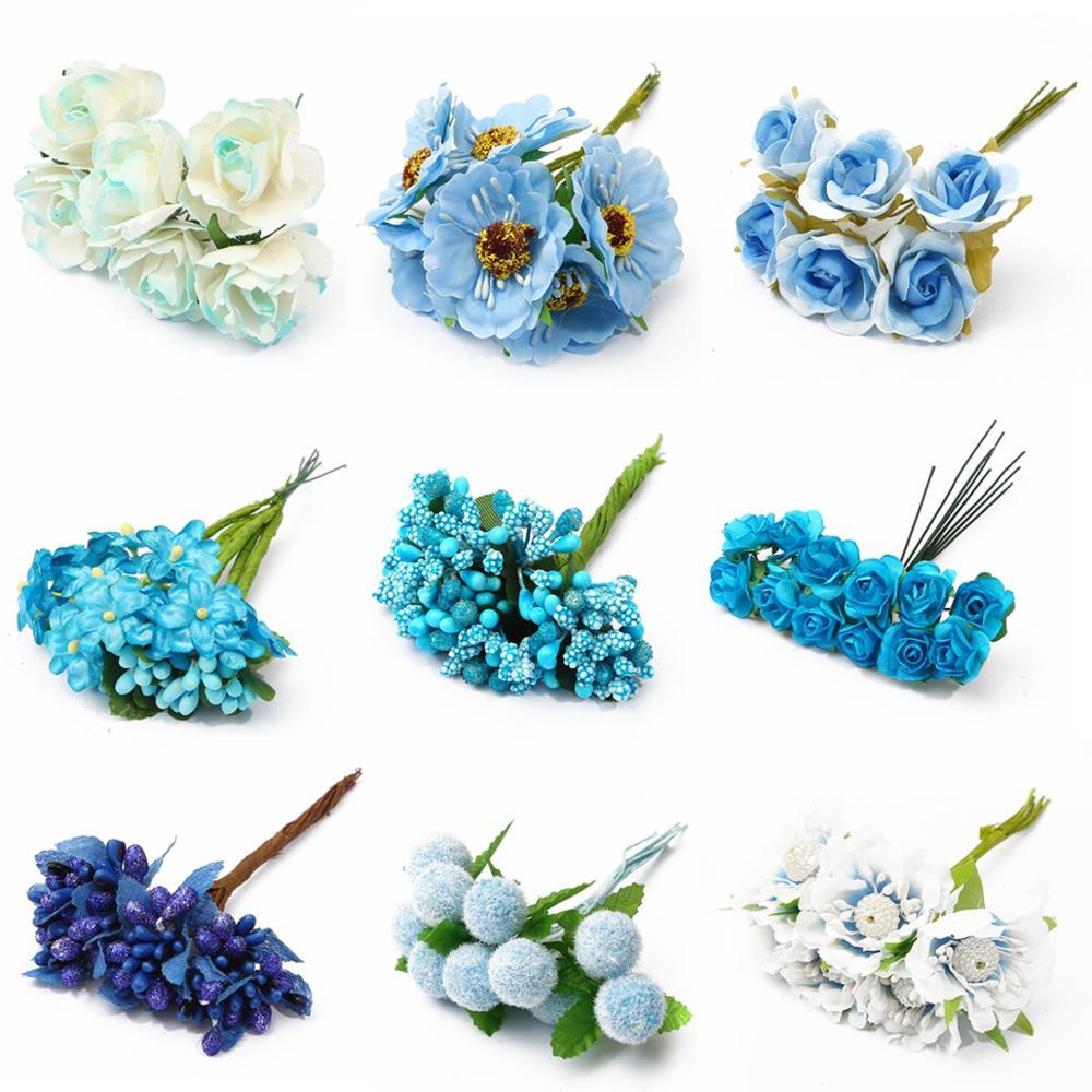 6/10/12/50/60/70/90/144 peças mix azul flor cereja pacote de berços de stânio, caixa de presente diy, natal, casamento, decoração
