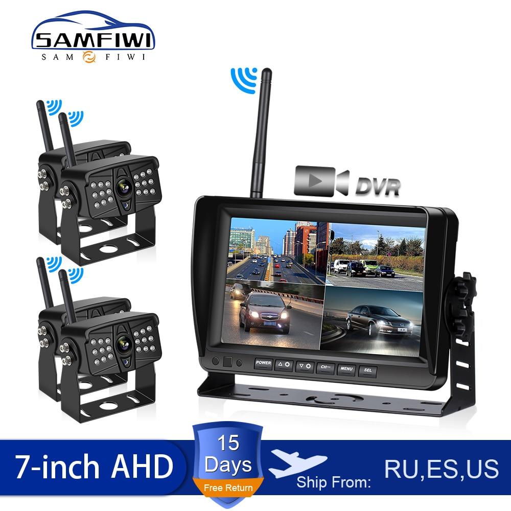 AHD беспроводной 7-дюймовый автомобильный монитор DVR дисплей Автомобильный экран заднего вида грузовик мониторы обратный резервный рекордер...