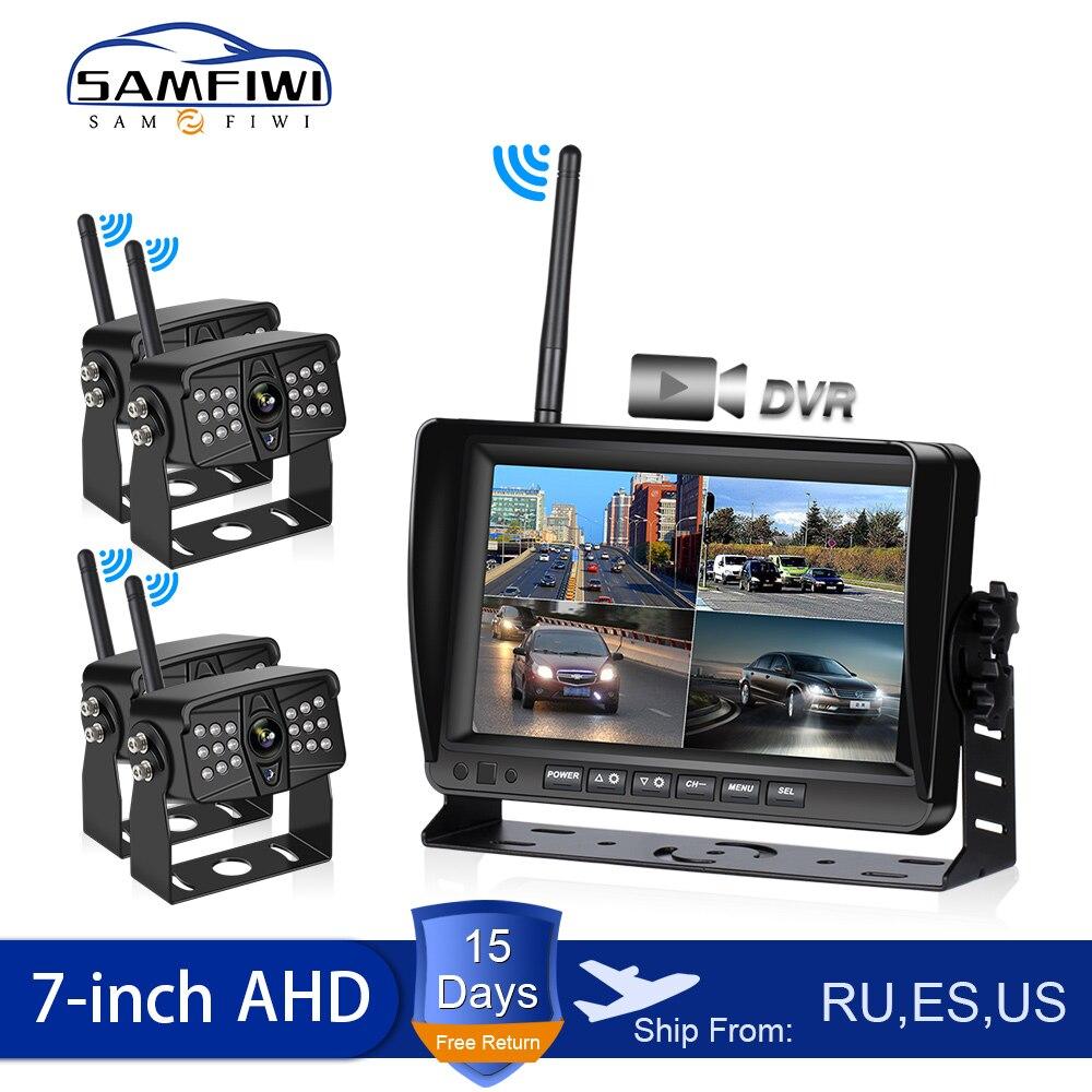 AHD Wireless 7 inch Car Monitor DVR Display Vehicle Auto Screen Rear View Truck Monitors Reverse Backup Recorder Wifi Camera