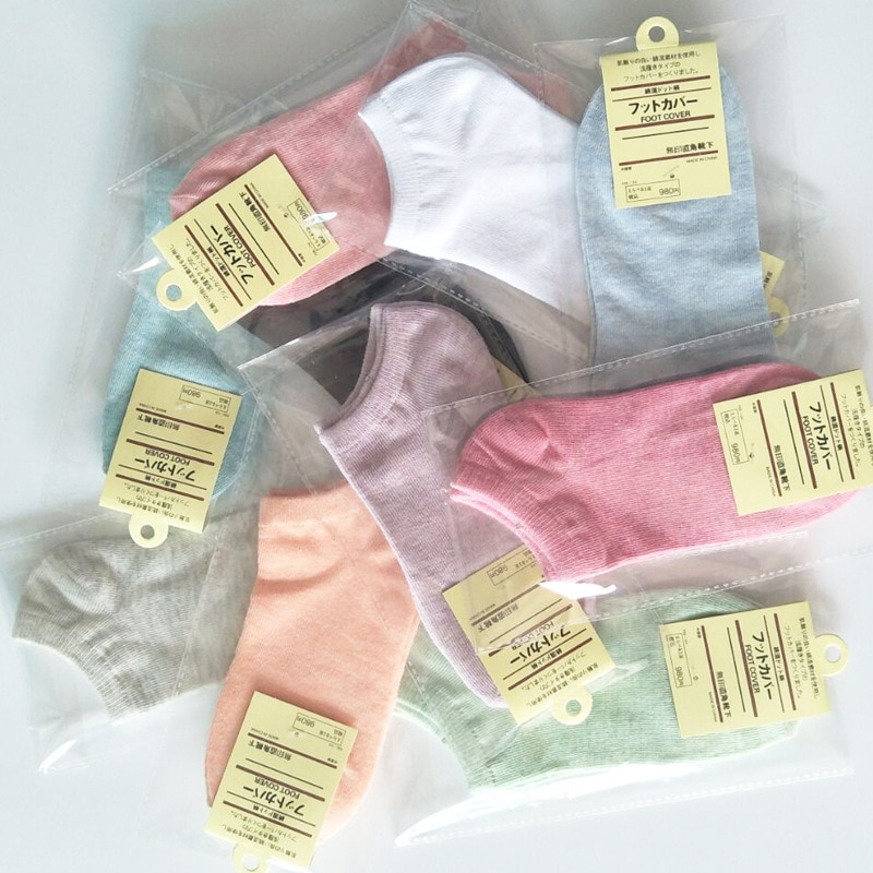 Five pairs of individually wrapped Ms. boat socks female socks shallow mouth solid color cotton socks to help low men fight color wide stripes help low boat socks cotton socks socks wholesale trade 200n
