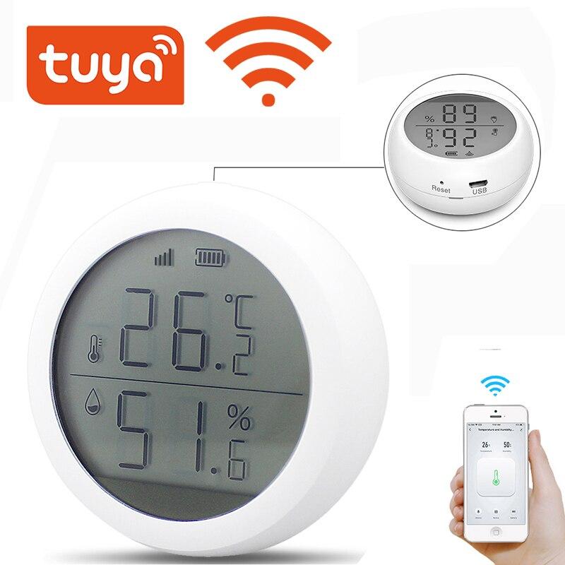 Tuya واي فاي استشعار درجة الحرارة والرطوبة المدمج في الجرس 55dB شاشة الكريستال السائل الرطوبة في الأماكن المغلقة الحرارة دعم اليكسا جوجل