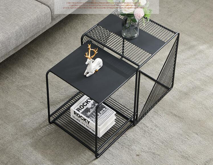 الحد الأدنى الحديد حافة الجدول بسيط الحديثة طاولة شاي الشمال أريكة حافة خزانة طاولة ركن الإبداعية الصغيرة مربع الجدول حافة الجدول