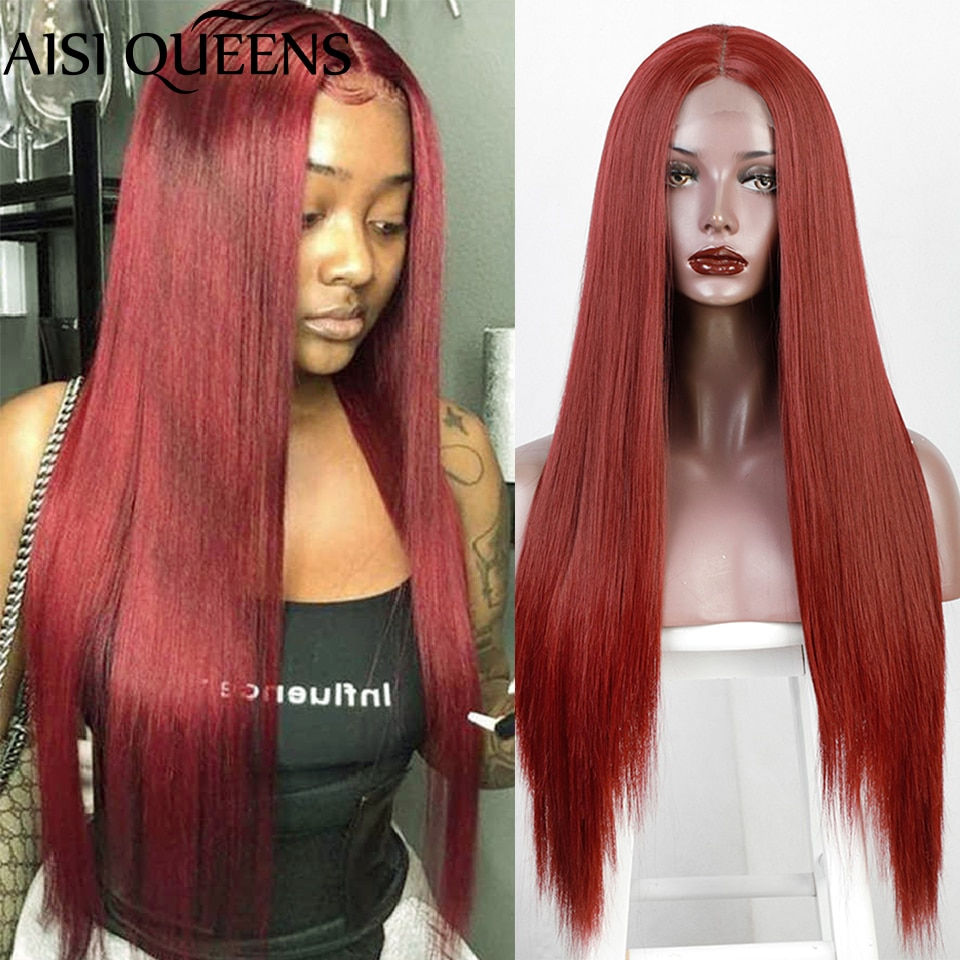 AISI QUEENS Long Red Straight Small Lace Part Wig Synthetic Wigs for Women Black White Blonde Cosplay Hair Middle Part