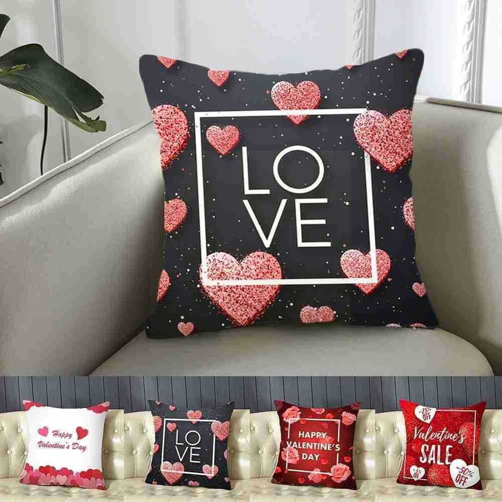 red rose flower heart polyester decorative throw pillowcase i love you letter cushions cover for sofa car valentine s day gift Valentine's Day Cushion Cover 45x45 Polyester Love Decor Cushions Sofa Home Pillowcase Cases Decorative Pillowcover Pillow M9C0