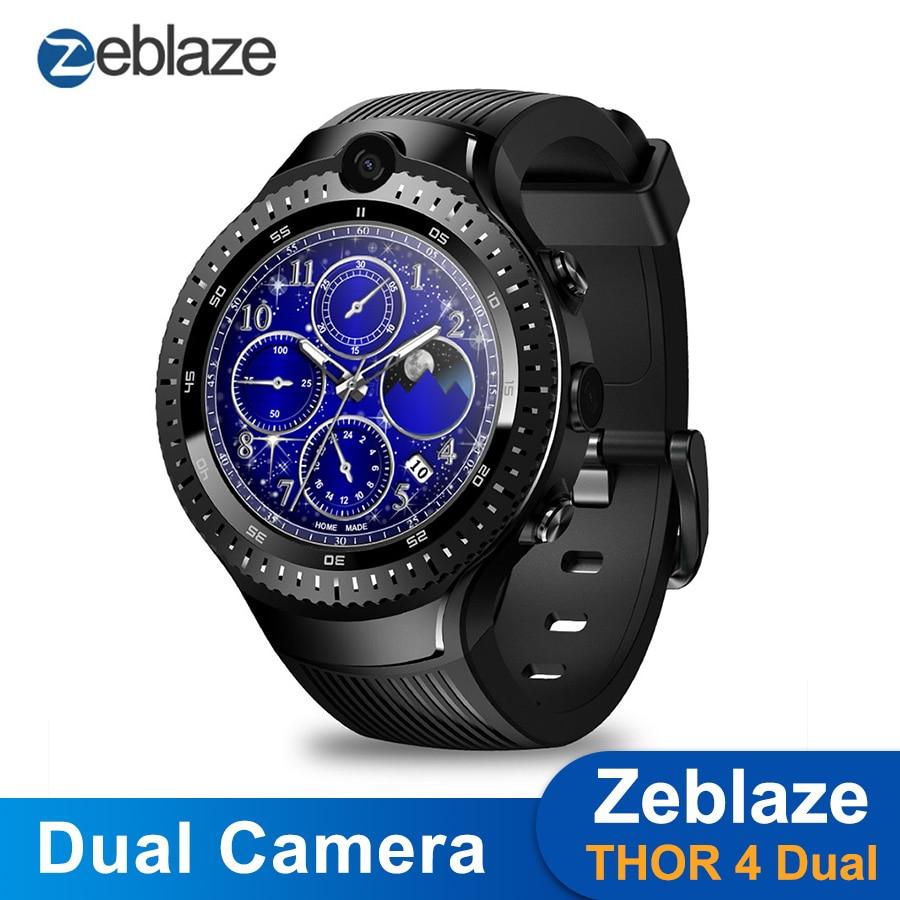 "Zeblaze THOR 4 Dual Smart Watch 4G LTE Android Quad Core 1GB+16GB Dual Camera 1.4"" AOMLED GPS/GLONASS WiFi Heart Rate Smartwatch"