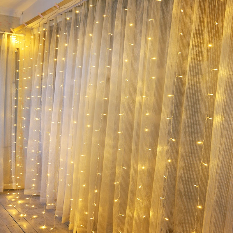 Рождественская светодиодная гирлянда 3 м x 3 м, занавес для украшения свадьбы, спальни, дома, вечерние новогодние гирлянды, праздничное освещ... недорого