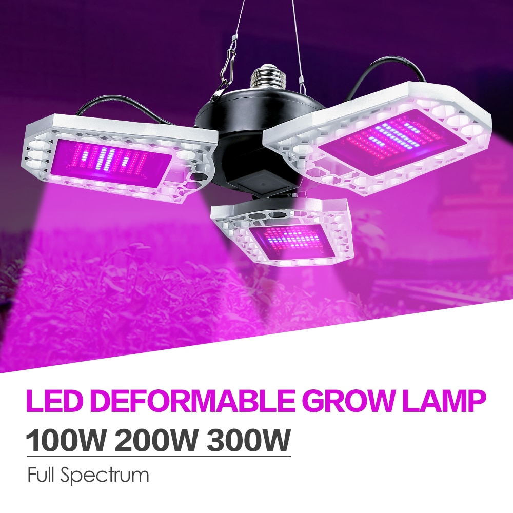 e27 led grow light white 100w 200w 300w 400w led plant light bulb 110v e26 led full spectrum growing lamp 220v greenhouse lamp LED Grow Light Full Spectrum LED Plant Growing Lamp 100W 200W 300W E27 Deformable Lamp E26 Growbox Indoor LED Hydroponics Light