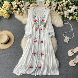 High Quality 2020 Spring New Design Korea Fashion Women Elegant Dress Vintage  V-Neck Puff Sleeve Empire Dress H394