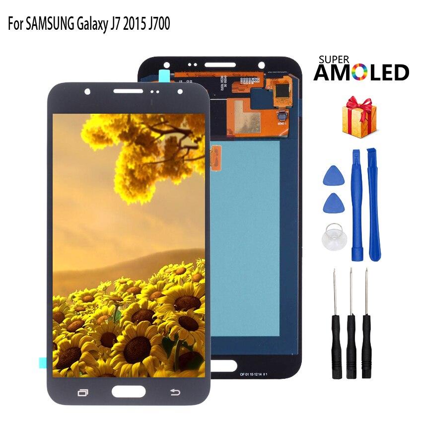 AMOLED para SAMSUNG Galaxy J7 2015 pantalla LCD J700 J700F J700H J700M pantalla táctil digitalizador piezas de repuesto de teléfono herramientas