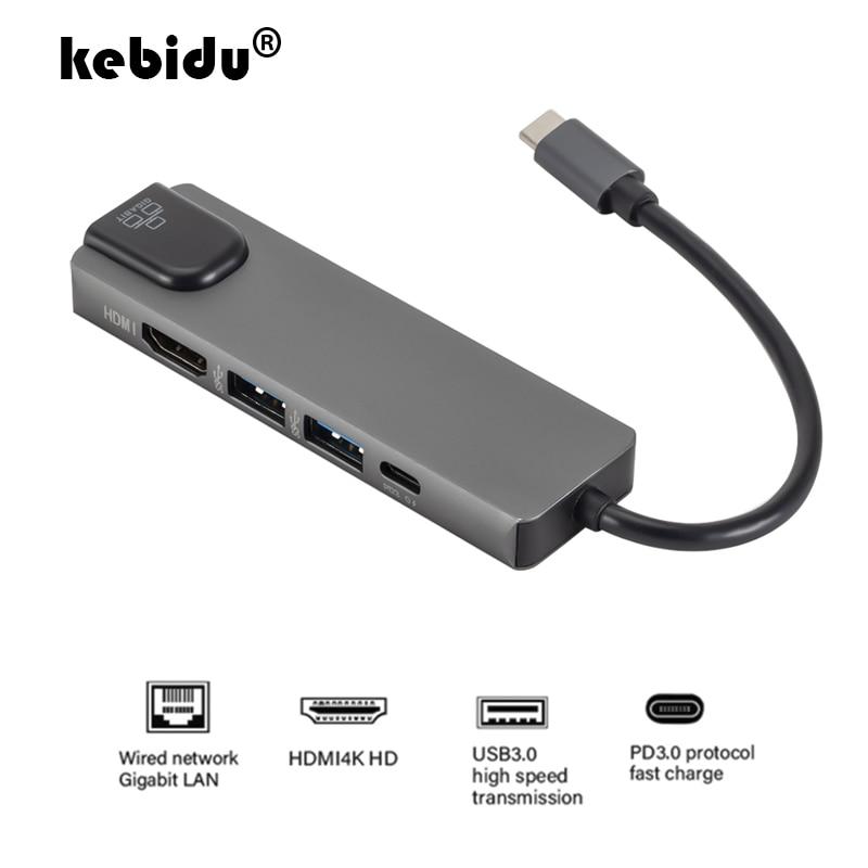 Kebidu 5 в 1 USB C концентратор для HDMI Gigabit Ethernet Rj45 Lan адаптер для Macbook Pro iPad Pro 11 12,9 2018 Thunderbolt 3 type c концентратор