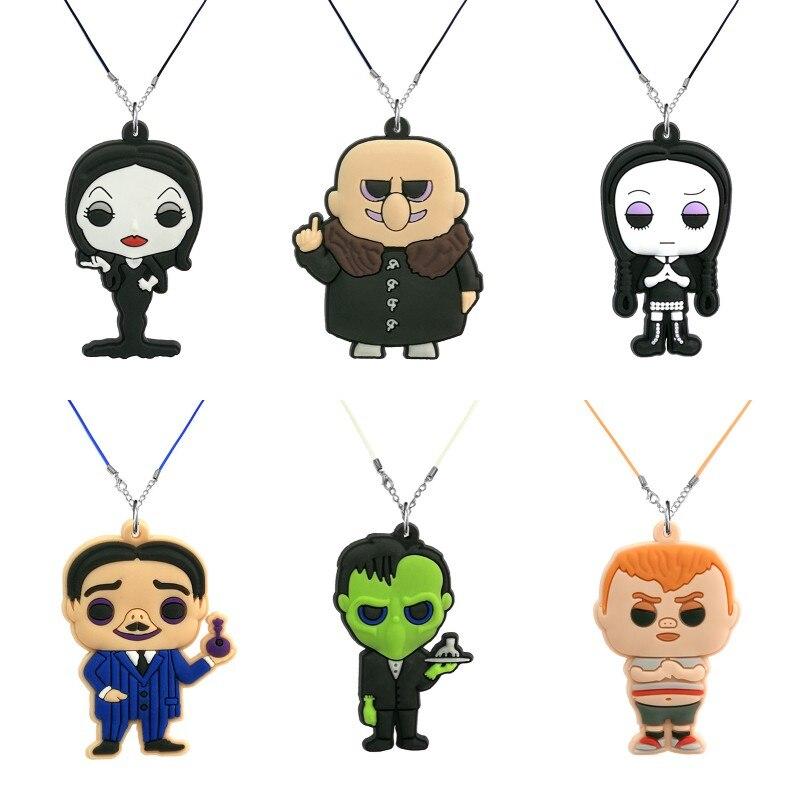1 Uds. Collar con colgante de dibujos animados para la familia, gargantilla de Zombie bonita, cadena de cuerda, bonitas joyas con abalorios de moda Adams, accesorios para regalos de fiesta