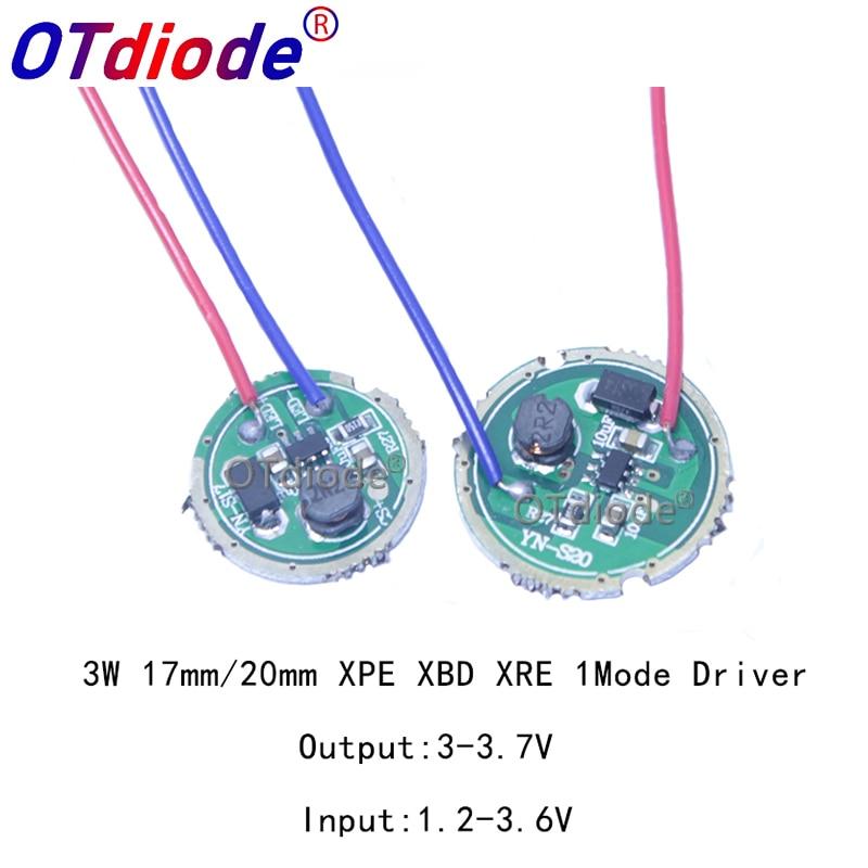 1 Uds 3W controlador de LED de 16/20mm DC3.7V 1 modo linterna LED conductor CREE XRE-Q5/XPE XP-E/XBD XB-D todo tipo de 3W lámpara de luz LED
