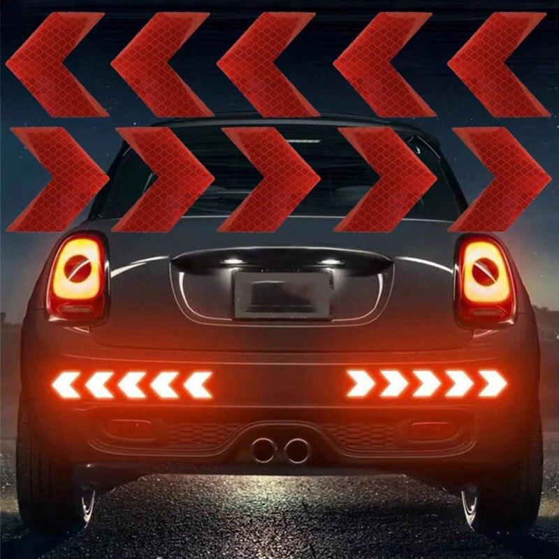 10 шт./компл. Автомобильная Светоотражающая стрелка, знак, лента, предупреждающая безопасность, наклейка для автомобильного бампера, багажни...