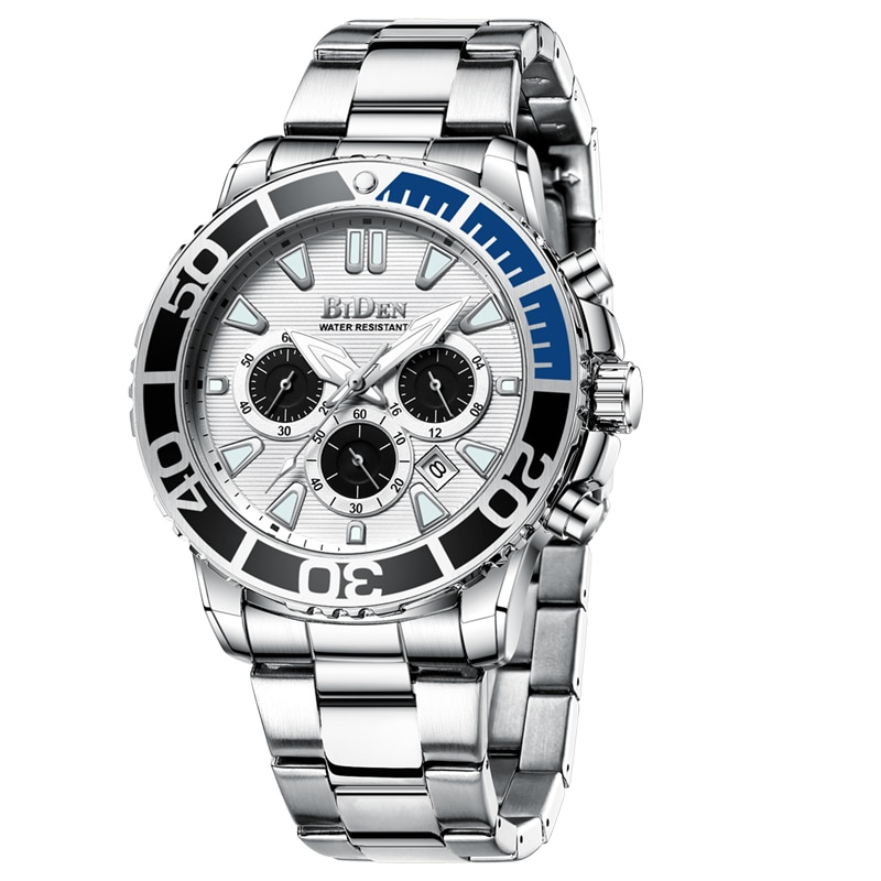 Relojes de hombre BIDEN 2020, reloj de pulsera de cuarzo de acero inoxidable luminoso para hombre, impermeable, informal, deportivo, de lujo