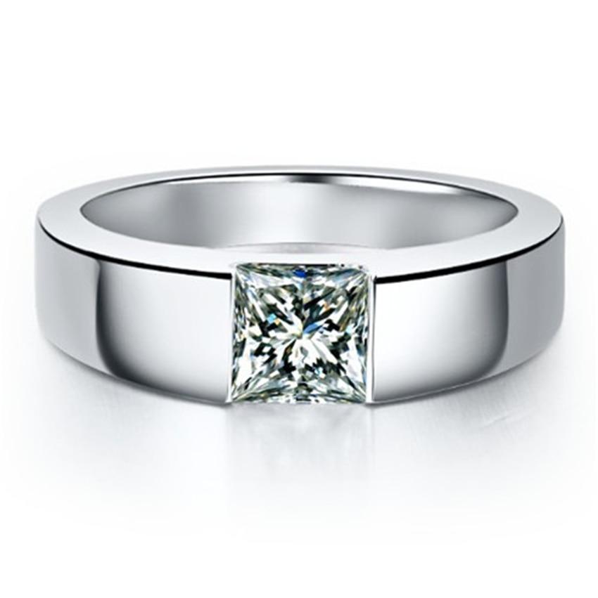 Solid Platinum PT950 Men Ring  1CT Princess Cut Diamond Men's Engagement Ring Excellent Anniversary Day For Man
