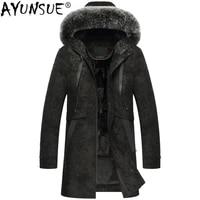 ayusnue genuine leather jacket men winter real mink fur liner fox fur collar sheepskin coat mens mink jackets 6 7 7 8 kj3104