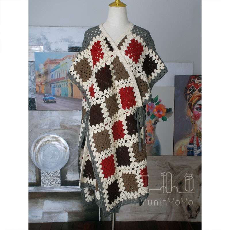 Various ways of wearing colorful handmade Square Crochet Wool lace up Cape cover knitted cardigan enlarge