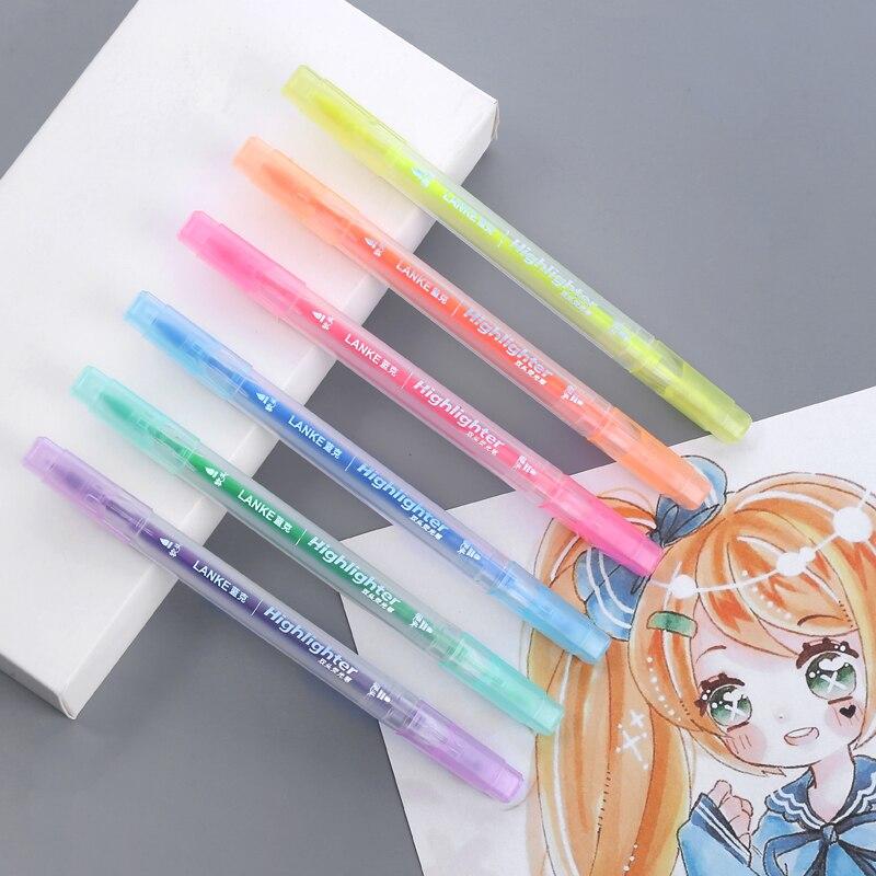 CHENYU 6 шт./компл. хайлайтер ручка канцелярские кисти маркеры двуглавый флуоресцентный маркер ручка 6 цветов Kawaii офисные принадлежности