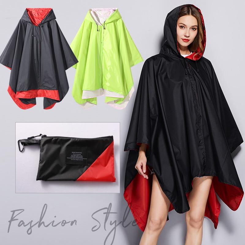 Mulher à moda chuva poncho capa de chuva impermeável duas camadas poderia usar ambos os lados ao ar livre