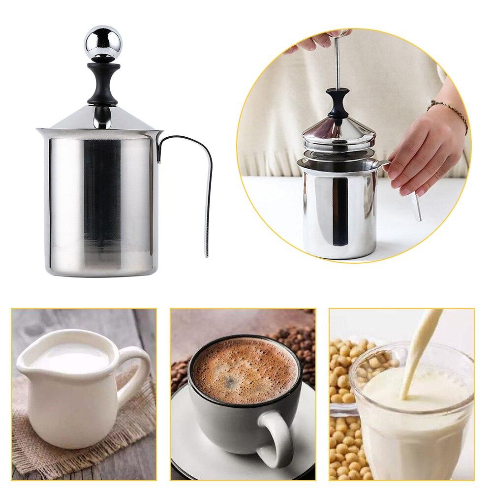 Espumador de leche Manual de acero inoxidable, de 400/800ML, doble malla, jarro de leche, Espumador de espuma de malla, cafetera, creadora de café