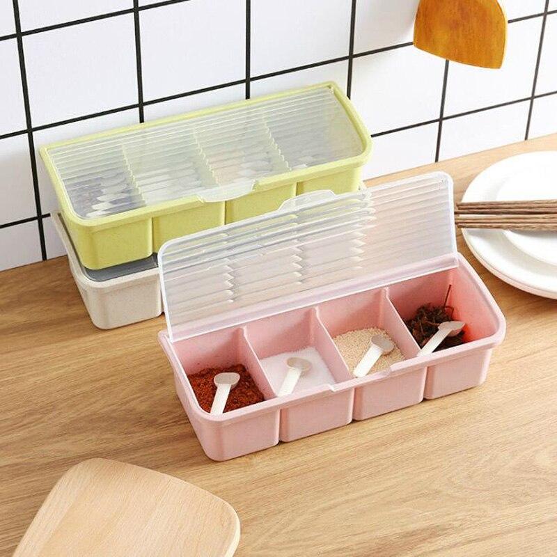 Condimento caja condimento contenedor de almacenamiento Rack tarro de especias 4 celdas con cuchara especia caja de almacenamiento contenedor condimento frascos para especias