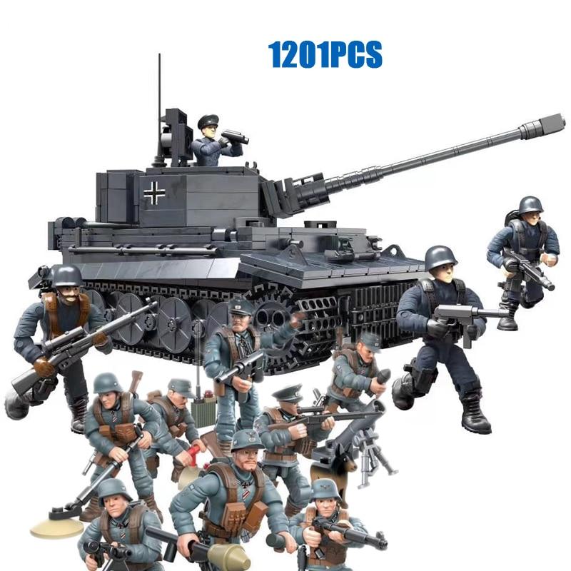 world war military Sd.Kfz.181 tank Panzerkampfwagen VI Ausf.E Tiger I mega block ww2 1:35 scale germany army figures bricks toys military world war german panzerkampfwagen iv tank ww2 army figures building blocks toys for boys gift