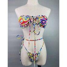 Bandage Swimsuit Bow Beachwear Sexy Bath Suits Swimwear Women Newest Bikinis Butterfly Print Bikini