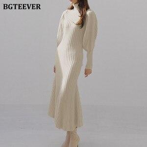 BGTEEVER Autumn Winter Turtleneck Women Knitted Dress 2020 Elegant Thick Full Sleeve Slim Mermaid Vestidos Femme